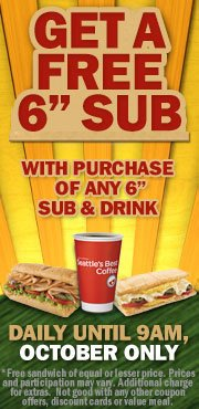 subway deal Subway: FREE 6 Sub with Purchase of Any 6 Sub & Drink (Before 9 am)