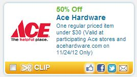 image about Ace Hardware Printable Coupon identified as Reminder: Ace Components Printable Coupon: Help you save 50% Currently