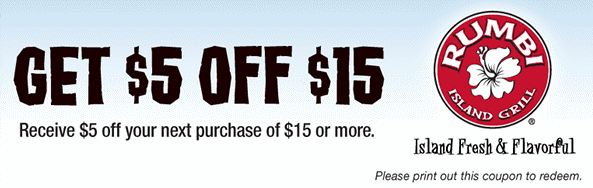 rumbi island grill printable copuon Rumbi Island Grill: Printable Coupon for $5 off $15 Purchase!