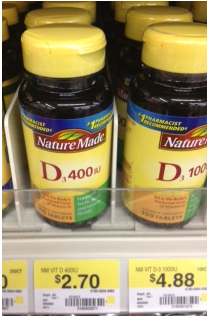 Nature Made at Walmart $2 printable coupon for Vitamin D = $.70 at Walmart!