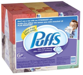 Puffs Puffs Ultra Soft & Strong Tissues   6boxes $8.41shipped (less than a penny/tissue)
