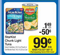 Smiths Tuna Deal New Starkist Tuna Pouch Coupon   $.72 Each At Smiths Today