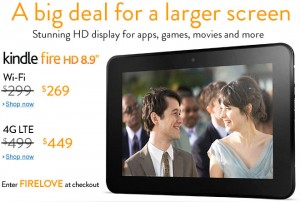 kindle fire HD promo 300x202 Save up to $50 on the Kindle Fire HD 8.9!