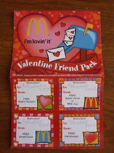 mcdonalds valentines booklets